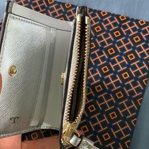 Tory Burch Bags - NWT Tory Burch Robinson MetalicSilver Mini Wallet